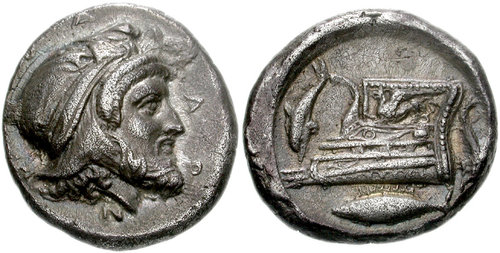سکه ها هخامنشی-سکه فارنابازوس با نشان ماهی